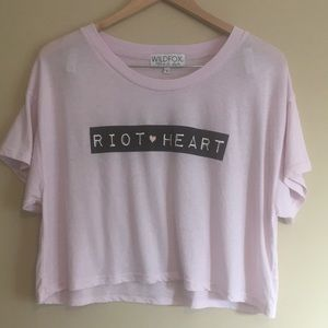 RARE Wildfox Riot Heart Wide Cropped Tee NWOT
